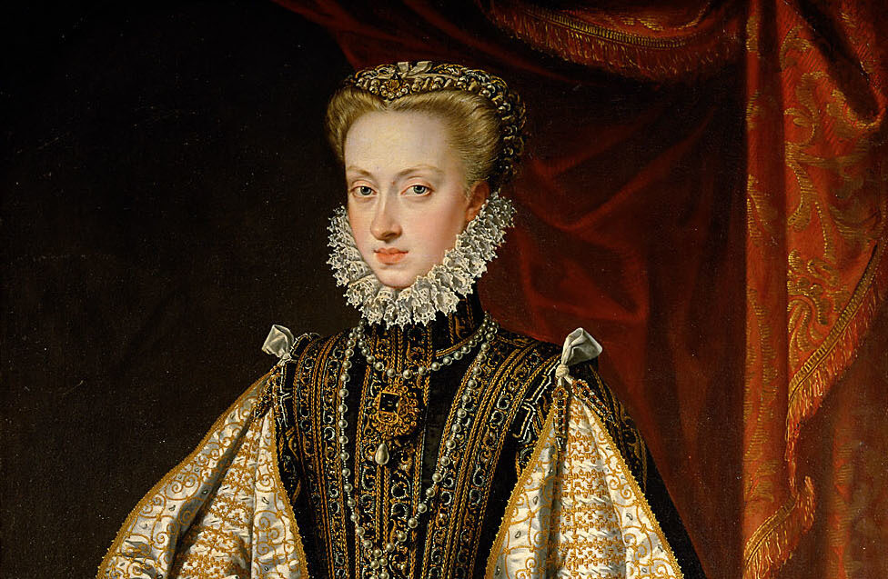 Kleding 16 1 Alonso Sánchez Coello (1571) - Anna van Oostenrijk