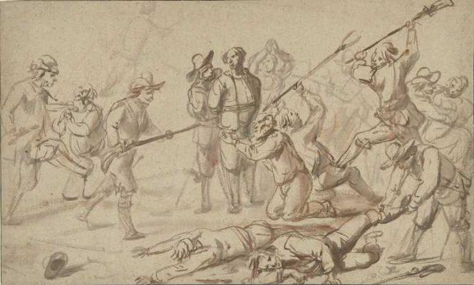 Een overval op boeren. (Bron: Cornelis de Wael, 1602-1667, Rijksmuseum)